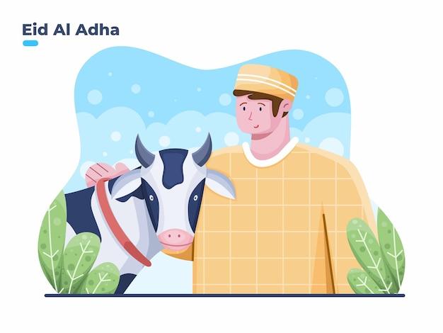 Felice eid al adha illustrazione con persona musulmana e animali sacrificali festa sacrificale