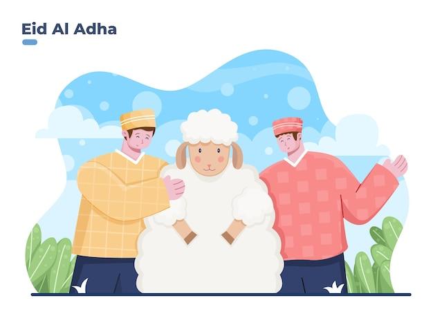 Felice eid al adha illustrazione piatta vettoriale con persona musulmana che abbraccia un animale di pecora