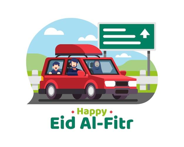 Felice eid al fitr sfondo con la famiglia musulmana va in vacanza utilizzando una macchina