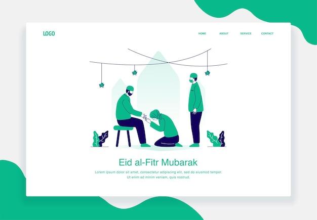 Felice eid al fitr illustrazione concetto di persone che accolgono felice ramadan kareem design piatto