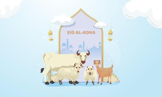 Felice eid aladha con illustrazione di animale sacrificale di capra pecora e mucca