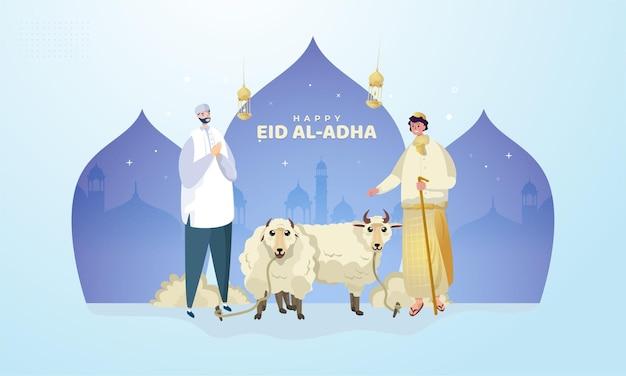Felice eid aladha con illustrazione di saluto musulmano
