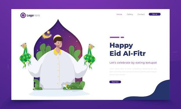 Saluti felici di eid mubarak con l'illustrazione di un uomo con ketupat