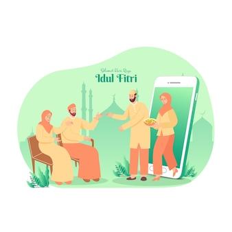 Felice eid mubarak in indonesiano. coppia musulmana che benedice eid mubarak ai genitori attraverso gli schermi degli smartphone utilizzando la videochiamata
