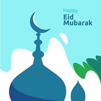 Felice eid mubarak o ramadan saluto con il carattere delle persone. concetto di illustrazione di design islamico per modello per pagina di destinazione web, social, poster, annuncio, promozione, supporto di stampa, banner o presentazione