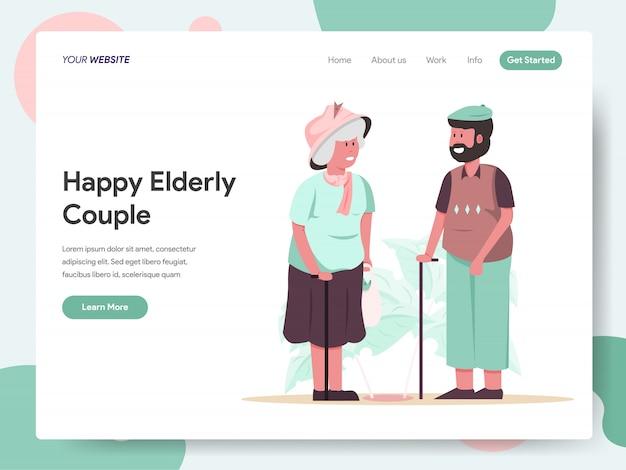 Banner di coppia di anziani felici per landing page