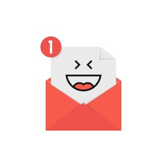 Emoji felice nella notifica della lettera rossa. concetto di risata, stampa dell'umore, web postale, conversazione online, senso umano, posta elettronica aperta. design grafico moderno del logotipo di tendenza in stile piatto su sfondo bianco