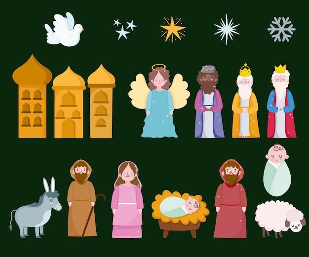 Felice epifania, tre re magi maria giuseppe bambino e animali
