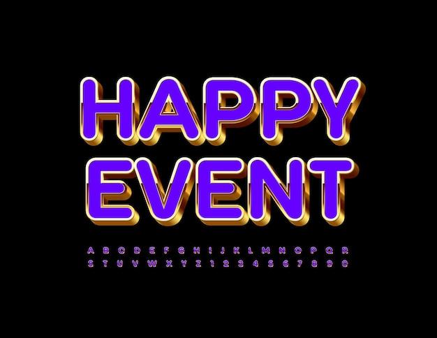 Happy event 3d alfabeto viola e oro lettere e numeri carattere lucido di lusso