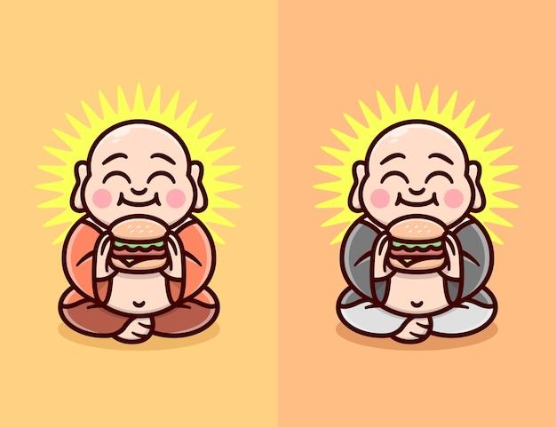 Una faccia felice monk bald e grasso che mangia hamburger in due diversi colori di abbigliamento logo a fumetto
