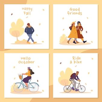 Cartolina d'auguri di attività all'aperto di persone felici caduta