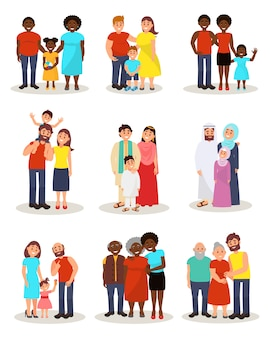 Felici famiglie di diverse nazionalità provenienti da diversi paesi, genitori e figli in abiti nazionali e casual che si uniscono insieme. illustrazioni