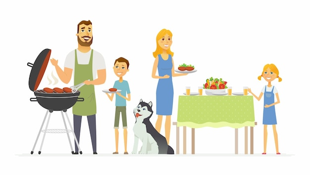 Famiglia felice al barbecue - illustrazione moderna dei caratteri della gente del fumetto isolata su fondo bianco. un'immagine del marito che prepara carne alla griglia e della madre che serve cibo, i bambini che aiutano i genitori