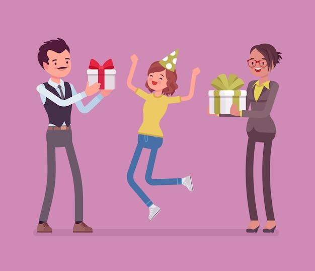 Famiglia felice alla celebrazione della festa di compleanno. i genitori e la figlia allegri che si divertono sull'evento, il padre e la madre godono insieme dell'intrattenimento, dando i regali della scatola. illustrazione del fumetto di stile