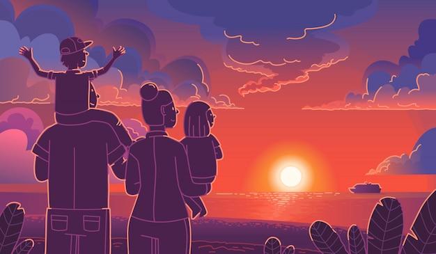 Famiglia felice in riva al mare a guardare il tramonto. concetto di turismo familiare. mamma, papà e bambini si godono l'estate insieme e si rilassano. illustrazione vettoriale in uno stile piatto