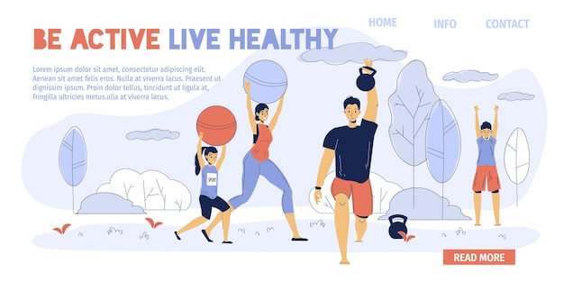 I personaggi dei cartoni animati della famiglia felice si divertono con le attività sportive all'aria aperta: papà lavora con il kettlebell