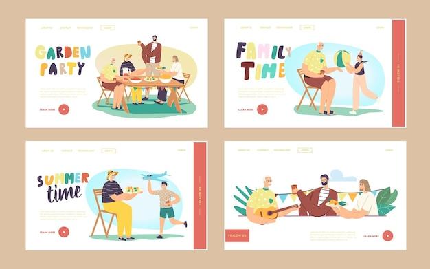 La famiglia felice celebra l'insieme del modello della pagina di atterraggio della festa in giardino. i personaggi si siedono a tavola, mangiano, comunicano. bambini allegri che giocano al cortile della casa. vacanze estive. cartoon persone illustrazione vettoriale
