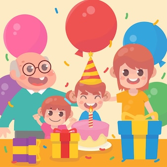 Famiglia felice che festeggia i compleanni