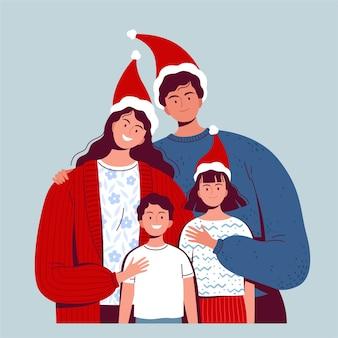 Famiglia felice che celebra insieme natale e capodanno. genitori e figli in cappelli di babbo natale abbracciano e sorridono. piatto del fumetto.