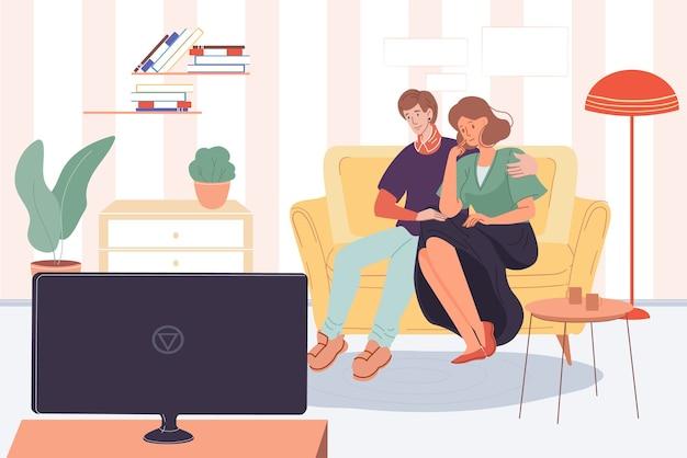 Personaggi della famiglia felice, giovani alla moda, ragazza e ragazzo che guardano la tv in casa