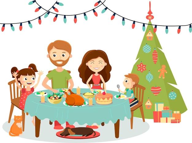 Cena di natale in famiglia felice che celebra le vacanze invernali di capodanno illustrazione vettoriale