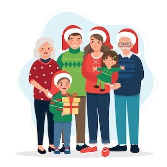 Famiglia felice a illustrazione di natale