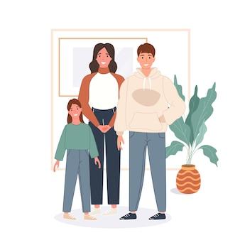Concetto di famiglia felice. padre, madre e figlio restano a casa e trascorrono del tempo insieme