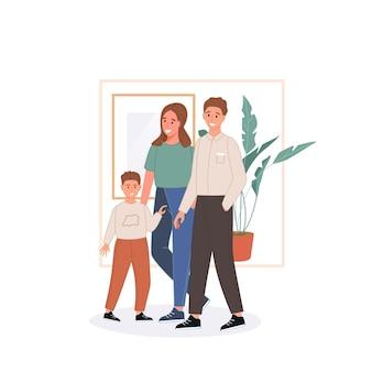 Concetto di famiglia felice. padre, madre, figlio restano a casa e trascorrono del tempo insieme
