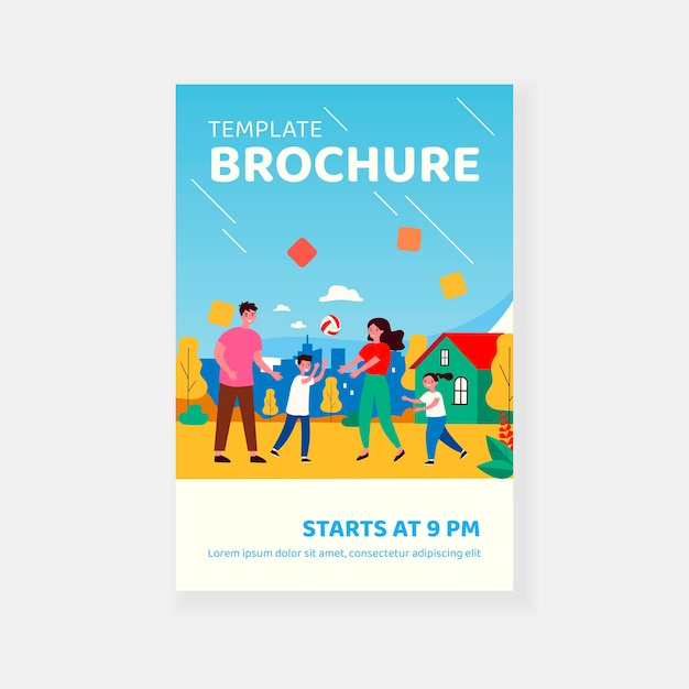 Coppia famiglia felice godendo attività all'aperto con modello di brochure per bambini