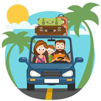 Papà, mamma e figlia di famiglia felici stanno andando in macchina per viaggiare.