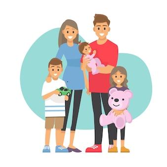 Famiglia felice papà, mamma, figlio e figlia e bambino insieme ... personaggio dei cartoni animati dell'illustrazione.