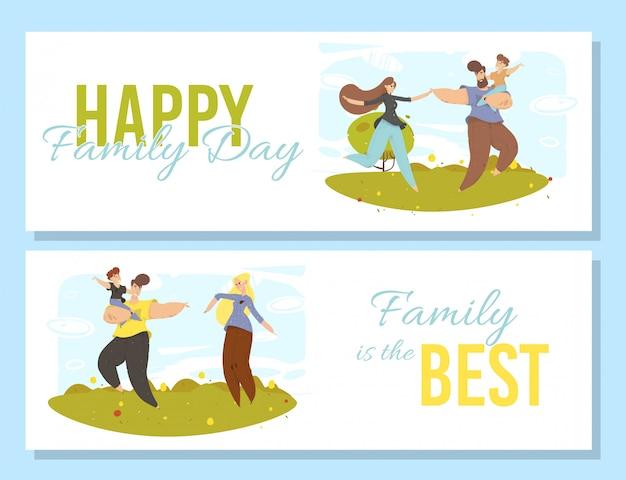 Set di banner felice giorno della famiglia. attività all'aperto,