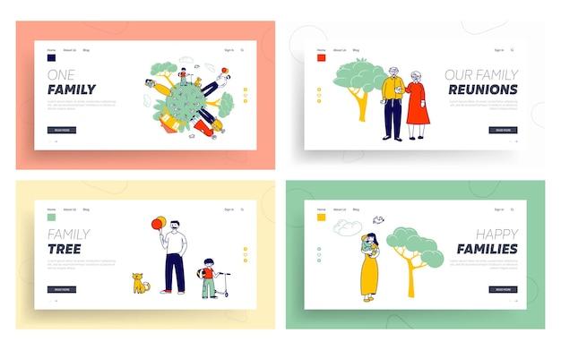 Famiglia felice sul set di pagine di destinazione del sito web del globo della terra.