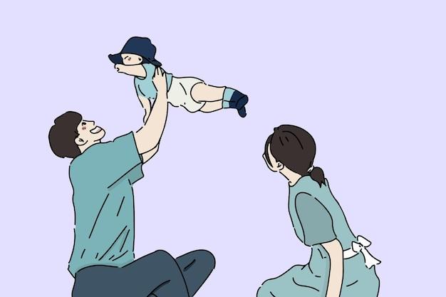 Famiglia felice, giornata in famiglia, illustrazione del concetto di genitorialità