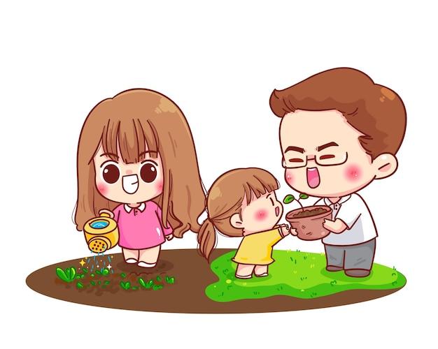 Famiglia felice giardinaggio genitori insieme fumetto illustrazione