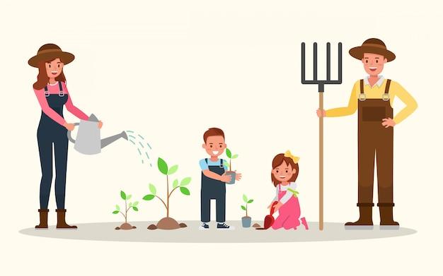 Famiglia felice giardinaggio insieme.