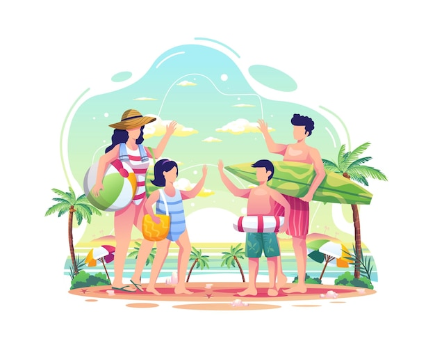 Famiglia felice che si diverte sulla spiaggia durante l'illustrazione estiva