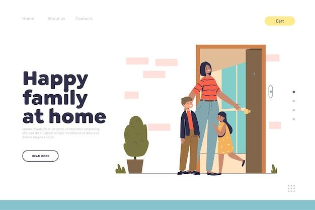 Famiglia felice a casa concetto di pagina di destinazione