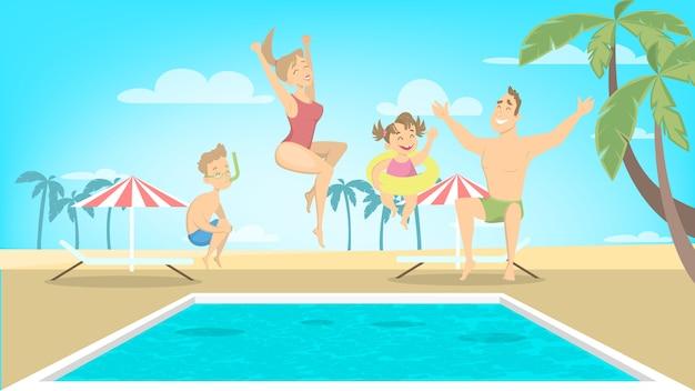 La famiglia felice salta nello stagno sulle vacanze.