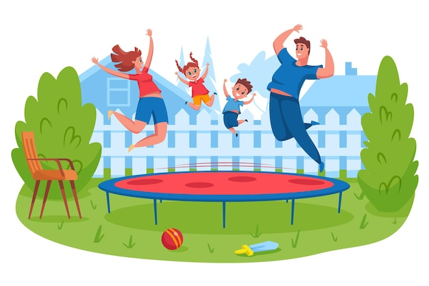 La famiglia felice che salta sul trampolino. madre e padre rimbalzano insieme ai bambini