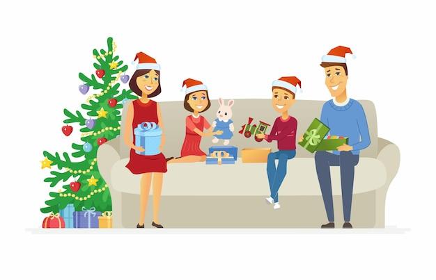 Regali di natale aperti della famiglia felice - illustrazione dei caratteri della gente del fumetto su fondo bianco. genitori e bambini seduti su un divano vicino a un albero decorato e scartare regali - giocattoli