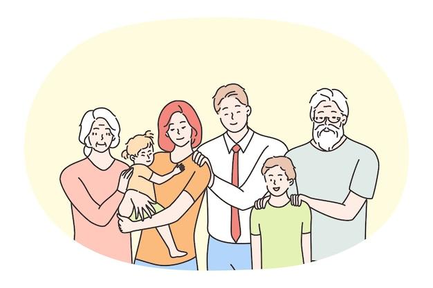 Famiglia felice, genitorialità, generazioni, concetto di bambini.