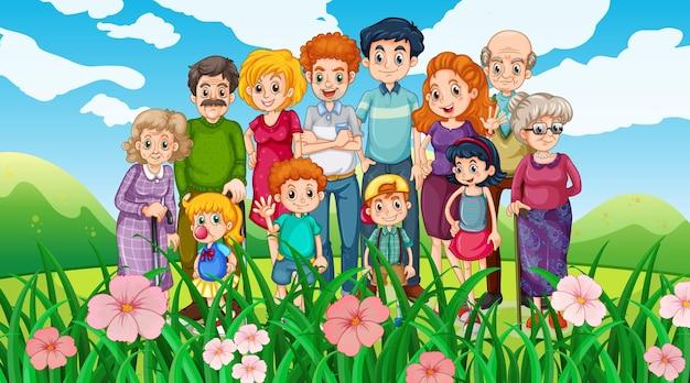 Famiglia felice al parco