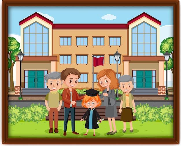 Foto di famiglia felice in una cornice