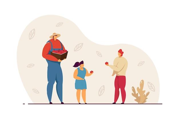 Famiglia felice che raccoglie insieme le mele madre che tiene scatola di frutta, ragazzo e ragazza con l'illustrazione piana di vettore delle mele. giardinaggio, concetto di agricoltura per banner, progettazione di siti web o pagine web di destinazione
