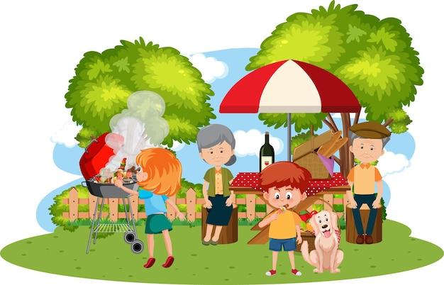 Picnic in famiglia felice in giardino