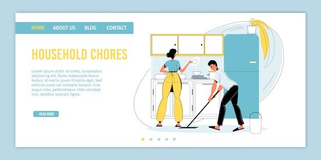 Lavoro domestico regolare della famiglia felice. uomo donna coppia sposata lavaggio stoviglie, rastrellamento pavimento. routine di pulizia quotidiana, lavoro quotidiano in cucina. lavoro domestico, igiene. pagina di destinazione .