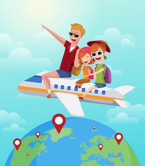 La famiglia felice guida sull'aereo in vacanza.