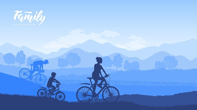 Famiglia felice che guida la bici la mattina presto