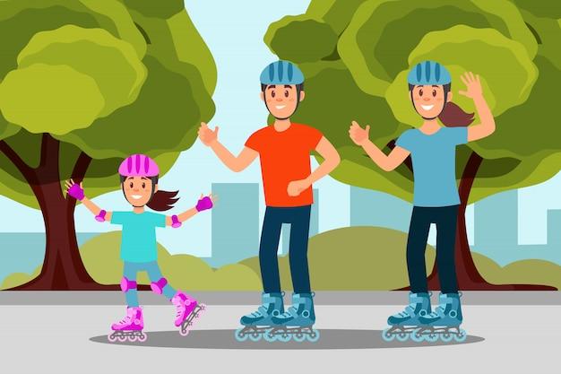 Pattino di rullo felice di guida della famiglia in parco. attività all'aperto. alberi, cespugli ed edifici della città sullo sfondo. design piatto